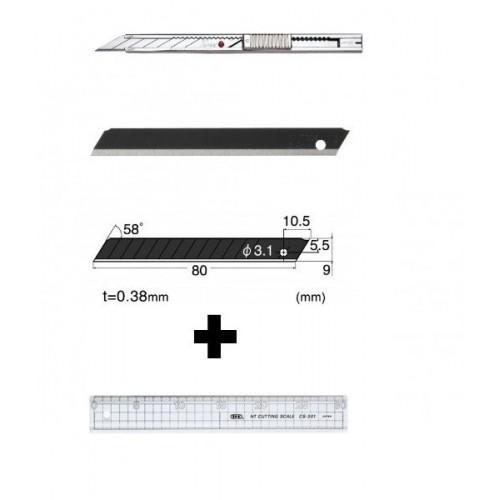 Set Cutter / cutit utilitar INOX mic - NT Cutter - 9mm + 10 lame de schimb + rigla 30 cm