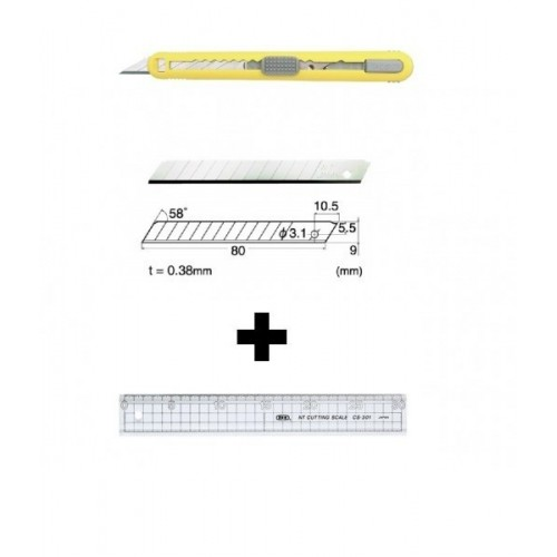 Set Cutter / cutit utilitar mic cu cartus de lame -NT Cutter - 9mm + 10 lame de schimb + rigla 30 cm