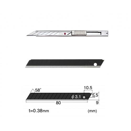 Set Cutter / cutit utilitar INOX mic - NT Cutter - 9mm + 10 lame de schimb