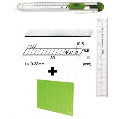 Set Cutter / cutit utilitar transparent mic NT Cutter - 9mm + 10 lame de schimb + placa de taiere A4+ rigla 30cm