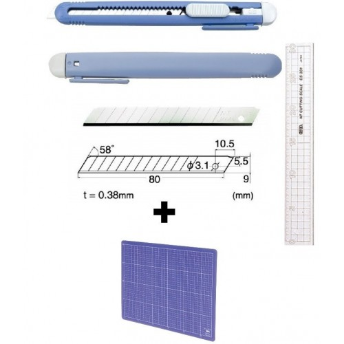 Set Cutter / cutit utilitar mic NT Cutter - 9mm + 10 lame de schimb + placa de taiere A4+ rigla 30cm