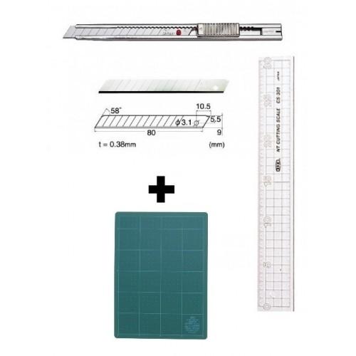 Set Cutter / cutit utilitar INOX mic - NT Cutter - 9mm + 10 lame schimb