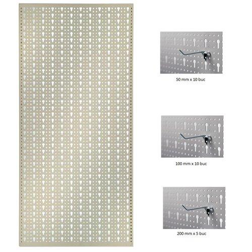 Panou perforat vertical de 500x1000 mm alb cu set de 25 carlige metalice
