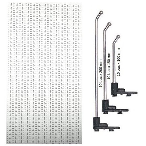 SST2 Panou perforat metalic alb vertical, 500x1000 mm cu set 30 carlige metalice