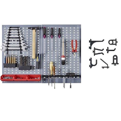 Kit 2 panouri perforate vertical/orizontal 800x600 pentru scule profesionale cu set 40 carlige plastic