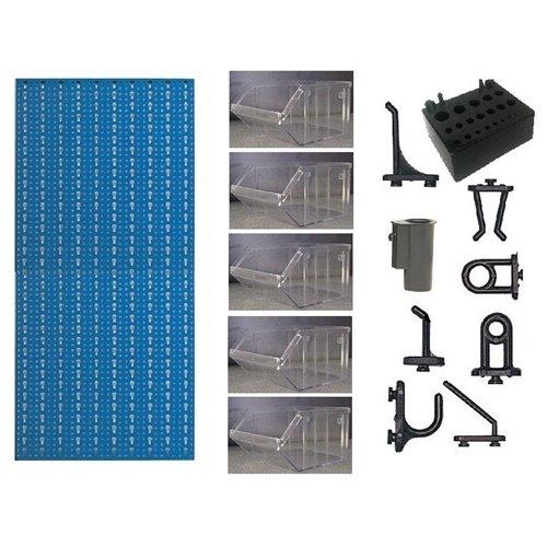 A3-4 Panou perforat vertical albastru, 500x1000 mm cu set accesorii