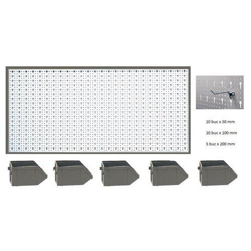 B1-1 Panou perforat orizontal alb, 1000x500 mm cu set accesorii