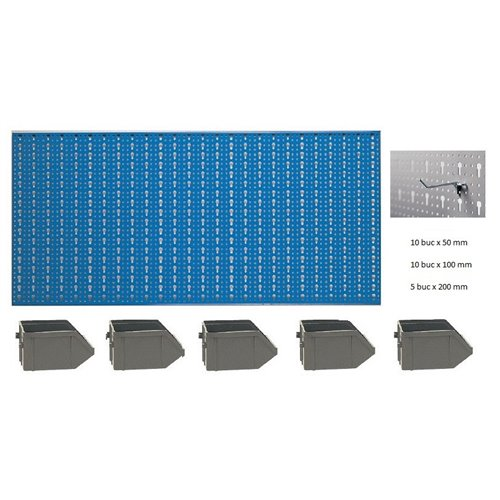 B2-3 Panou perforat orizontal albastru, 1000x500 mm cu set accesorii