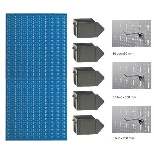 B2-4 Panou perforat vertical albastru, 500x1000 mm cu set accesorii