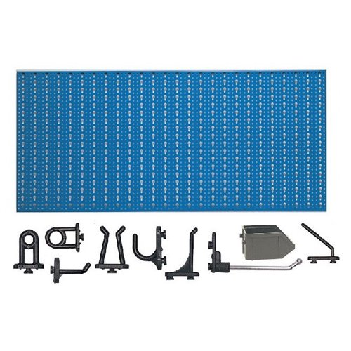 D1-3 Panou perforat orizontal albastru, 1000x500 mm cu set accesorii