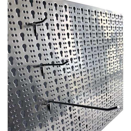 Panou perforat orizontal  din INOX,  1000x500mm cu set 25 carlige metalice