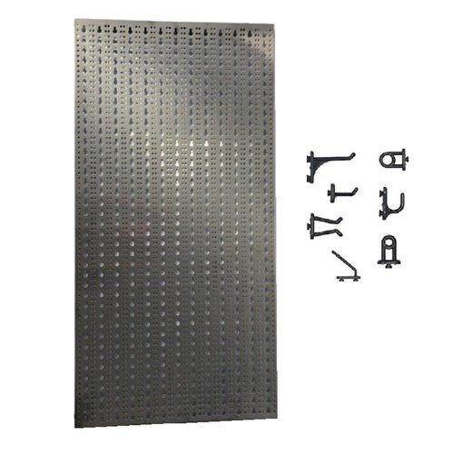 Panou perforat vertical  din INOX,  1000x500mm cu set 40 carlige