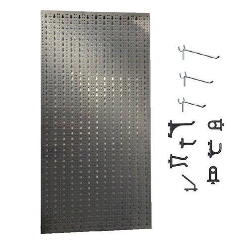 Panou perforat vertical  din INOX,  1000x500mm cu set 65 carlige
