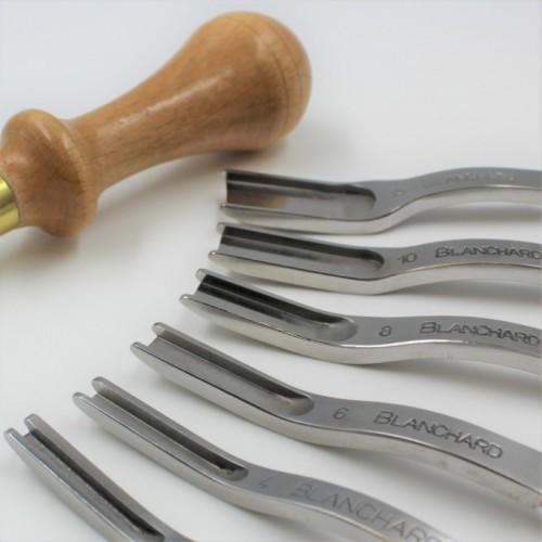 Tesitor/Razuitor Eco pentru margini pielarie, maner lemn fag